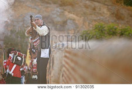 Spanish Bandit Or Bandolero Fighting Between Allied Troops