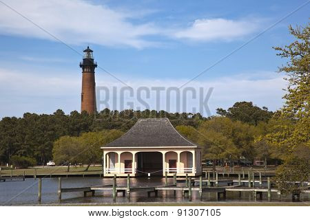 The Currituck Beach Lighthouse is in Corolla on the Outer Banks and is a popular attraction in the area.