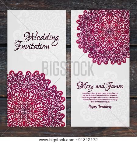 Lacy Vector Wedding Card Template. Romantic Vintage Wedding Invitation. Abstract Circle Floral Ornam