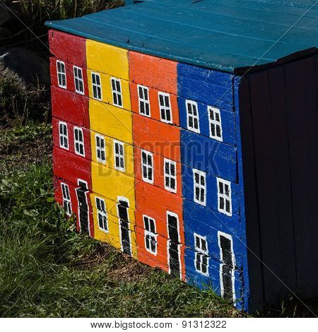Typical painted woodbox in rural Newfoundland, Canada.