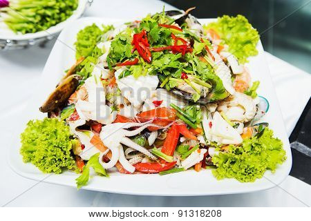Thailand Sea Food Salad Spicy on white plate