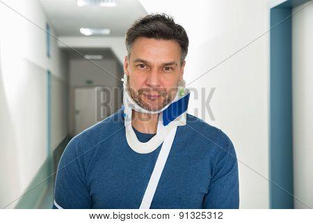 Disabled Man Using Cervical Collar