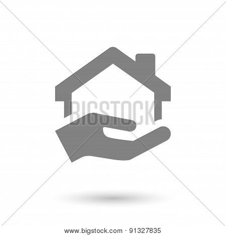 Flat Hand And Home Icon