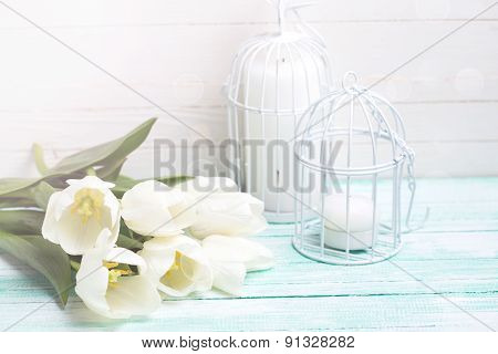 Background With  White Tulips And Candles.