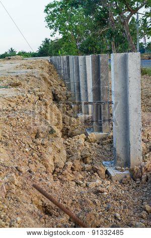 Large concrete construction to prevent soil erosion