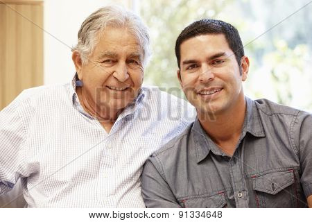 Hispanic father and adult son