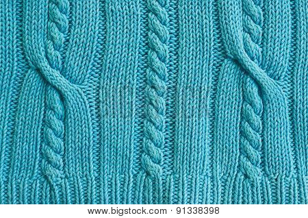 Cyan backround knitted sweater