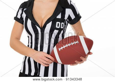 Female Referee Holding American Football