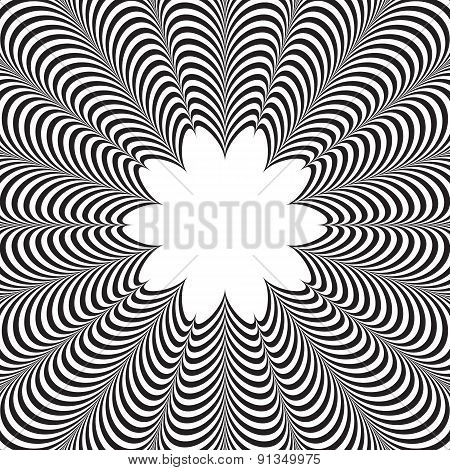 Abstract vector black and white striped background. Optical illusion. poster