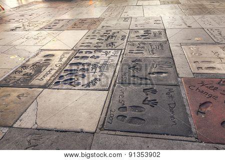 Handprints Of Matt Damon, Twilight, Michael Jackson In Hollywood Boulevard In The Concrete Of Chines