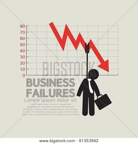 Hangman With Decrease Graph Business Failures Concept Illustration. EPS 10 poster