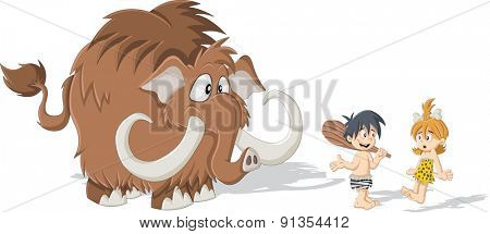 Cartoon caveman and cave woman with a Mammoth. Stone age children.