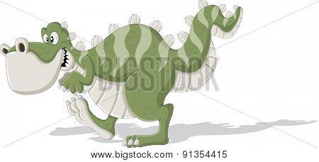 Cartoon tyrannosaur. Cute trex dinosaur walking.