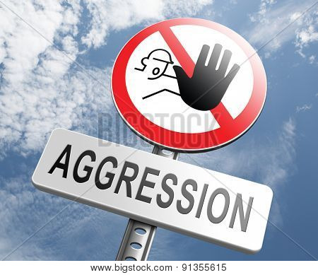 stop aggression no physical or verbal violance prevention poster