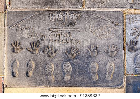 Handprints  Of Harry Potter In Hollywood Boulevard In The Concrete Of Chinese Theatre's Forecourt