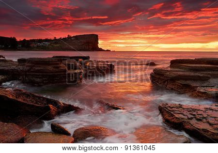 Blazing Sunrise From Avalon Beach Australia