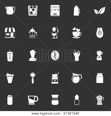 Coffee And Tea Icons On Gray Background