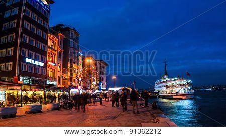 Galata pier on Bosporus at night, Istanbul, Turkey