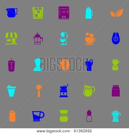 Coffee And Tea Icons Fluorescent Color On Gray Background