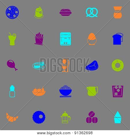Easy Meal Icons Fluorescent Color On Gray Background