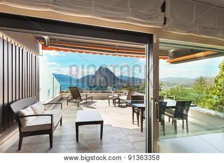 Architecture, veranda of a penthouse, view from interior
