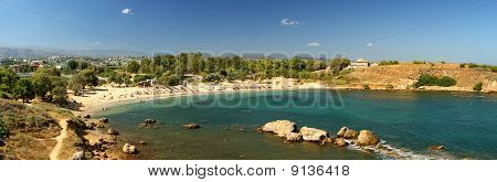 The beach of Agioi Apostoli in Crete. A typical Mediterranean beach. poster