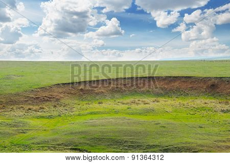 landslide and soil erosion on agricultural fields poster
