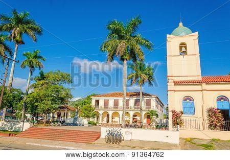 Main street of Cuban Vinales with church, Cuba