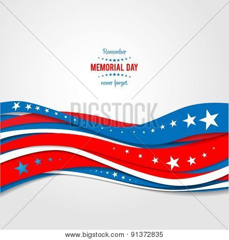 Blue and red abstract waves. Patriotic holiday background. Holiday patriotic card for Independence day, Memorial day, Veterans day, Presidents day and so on.