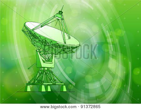 Ecology technology concept - large astronomical Doppler radar, radial HUD elements & green bokeh abstract light background / vector illustration / eps10