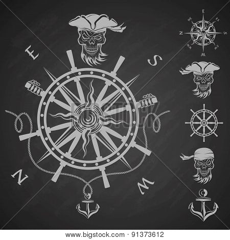Sea emblem and a set of pirate elements.