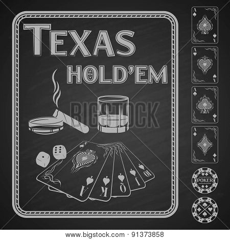 Texas Hold em poker. Vector illustration.