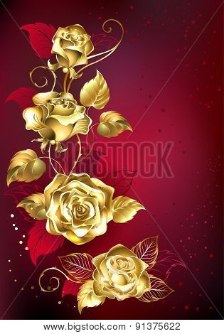 Gold Rose On Red Background