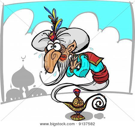 Funny genie in a lamp.