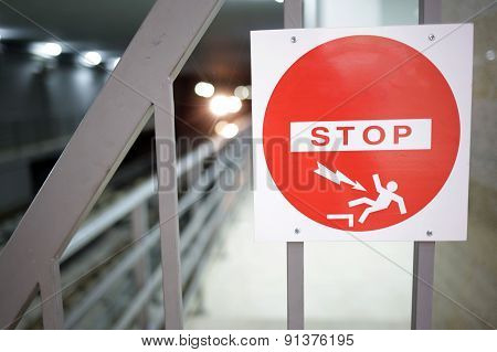 Stop Sign In The Subway