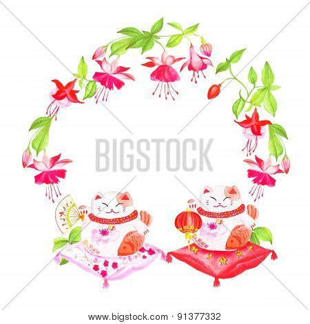 Chinese Fuchsia And Lucky Cats Sitting On Pillows Watercolor Vector Design Frame
