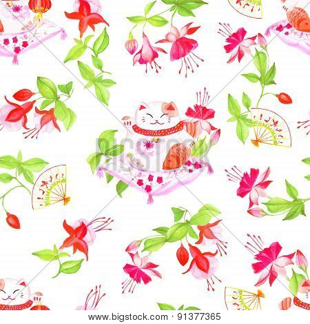 Chinese Fuchsia And Lucky Cats Sitting On The Pillows