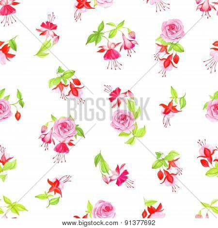 Blooming Fuchsia And Roses Seamless Vector Print