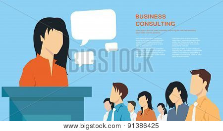 Business presentation, giving a speech concept, leadership in business