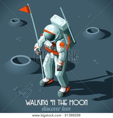 Astronaut Moon Landing Isometric