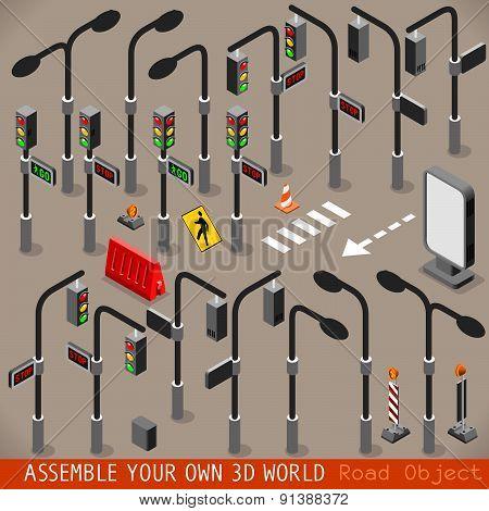 Urban Traffic Management Set Isometric