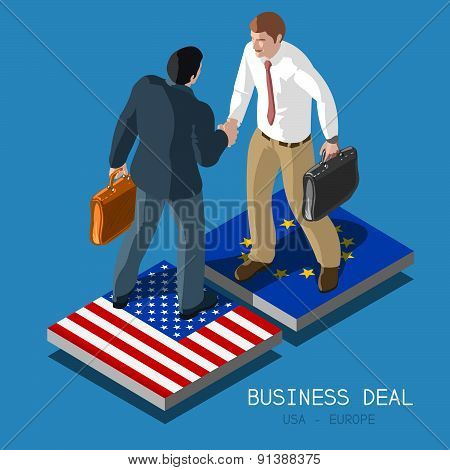 USA Europe Deal People Isometric