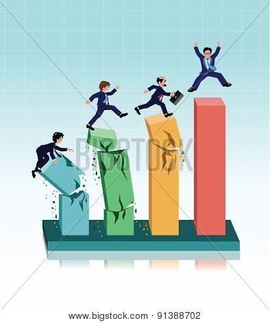 Businessman running on broken graph