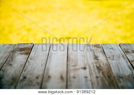 Wooden Texture With Nature Background