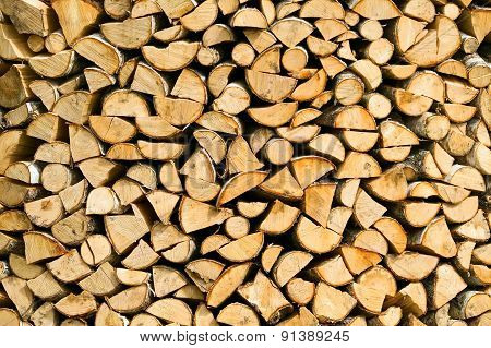 Background Of Wooden Cut Firewood
