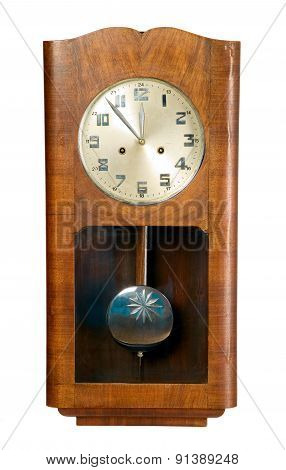 Old Vintage Brown Clock Made From Wood