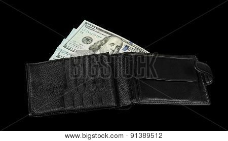 Wallet with dollar bils