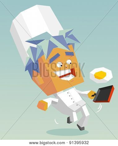 happy cook sunnyside up.vector illustration