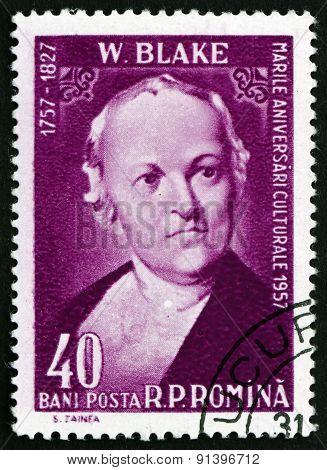Postage Stamp Romania 1958 William Blake, English Poet