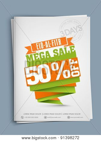 Muslim community festival Eid-Ul-Fitra celebrations with mega sale templates concept with 50% off.